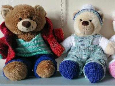 Afonwen Craft & Antique Centre - Elaine at Cherry Bea Knitted Teddy Bear Clothes (1)